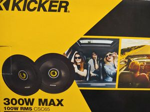 Car speakers : Kicker 6.5 inch 2 way 300 watts car speakers new price is lowest for Sale in Santa Ana, CA