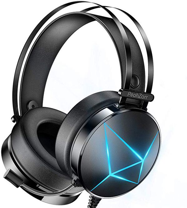 Gaming Headset Xbox One Headset PS4 Headset with 7.1 Surround Sound PC Headset with Mic & Light, Over Ear Headphones