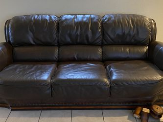 3 Piece Dark Brown (Real) Leather Couch Set for Sale in Spring Valley,  CA
