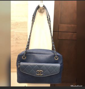 Chanel bag, bowler caviar bag blue for Sale in McLean, VA
