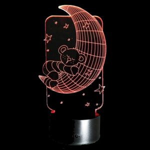 3D Illusion Night Light Crescent Moon with Sleeping Teddy Bear for Sale in Las Vegas, NV