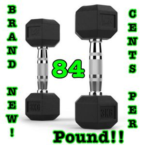 Brand New Rubber Coated Dumbbells!! Best Prices! for Sale in Houston, TX