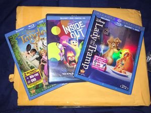 Disney blu ray pack tangled inside out lady and the tramp for Sale in Imperial, CA