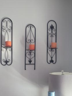 3 Black Metal Wall Sconces for Sale in Woburn,  MA