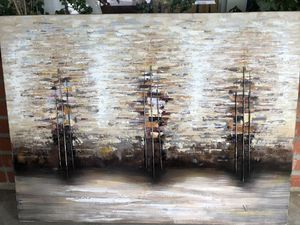 """Really nice canvas painting. Cool earth tones. In perfect shape. 40"""" x 30"""". for Sale in San Mateo, CA"""
