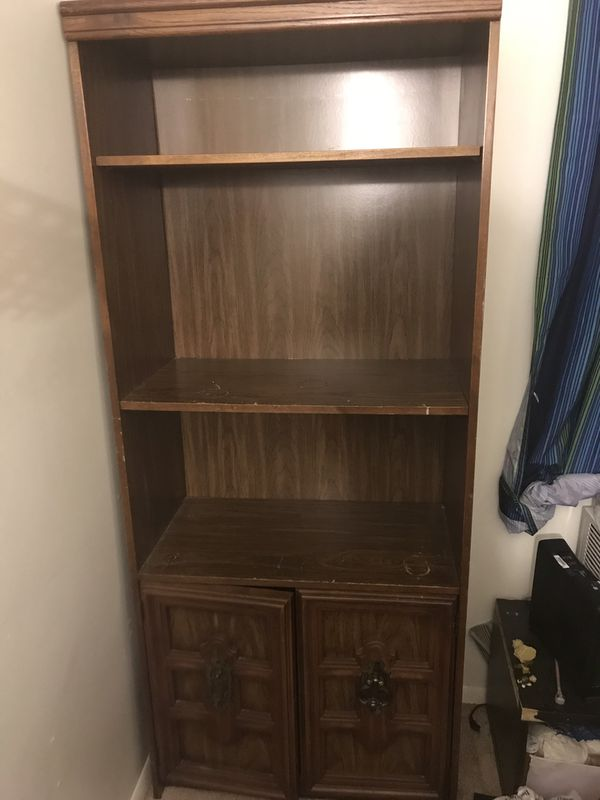 Wooden Antique style bookshelf with bottom cabinets!