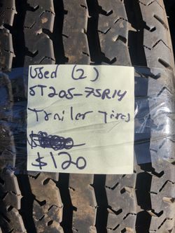 Used pair (2) st205/75R14 trailer tires for Sale in Portland,  OR