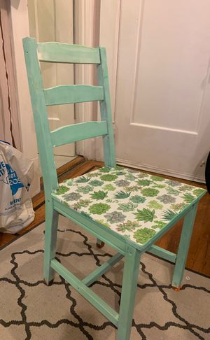 Local artist succulent mint green chairs! for Sale in San Francisco, CA