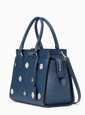 NWT KATE SPADE CAMERON FLOWER APPLIQUE MEDIUM SATCHEL HANDBAG BLUE $399 for Sale in Pembroke Pines, FL