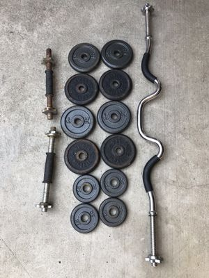 Standard Weights with Curling Bar for Sale in Fountain Valley, CA