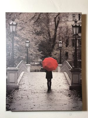 Red umbrella picture on canvas for Sale in Long Beach, CA
