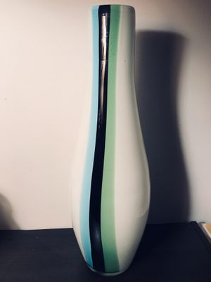 Hand Blown Venetian Glass Vase • Teardrop Shape • White with Black Blue Green Stripe for Sale in Arlington, VA
