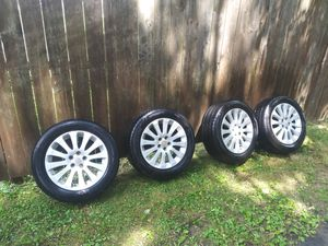 5 x 100 Subaru rims with Slightly Used Tires TPMS sensors inside are good for Sale in Lansdale, PA