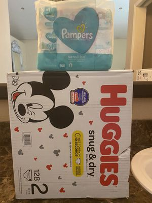 Huggies size 2 diapers and wipes bundle for Sale in Fontana, CA
