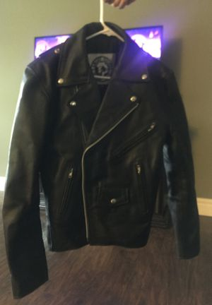 Size 38 men's Angry young and poor brand leather jacket originally 200 for Sale in Delavan, WI