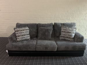 Gray and black couch with leather base for Sale in Alexandria, VA