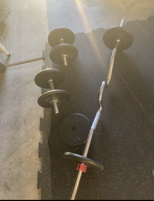 Dumbbell and curl Bar for Sale in Riverside, CA