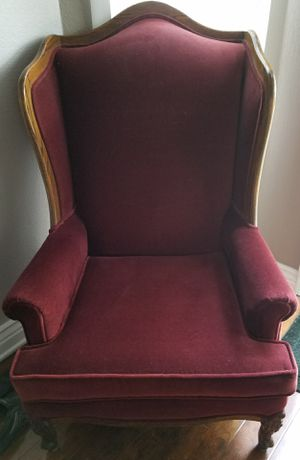 Gorgeous Antique Vintage Shabby Chic Burgundy Velvet Wingback Chairs for Sale in San Diego, CA