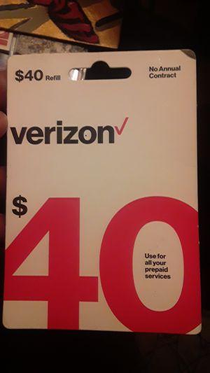Verizon 40$ refill Card Prepaid Service for Sale in Tucson, AZ