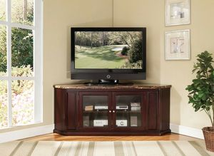 Espresso finish wood faux marble top corner tv stand for Sale in San Jose, CA