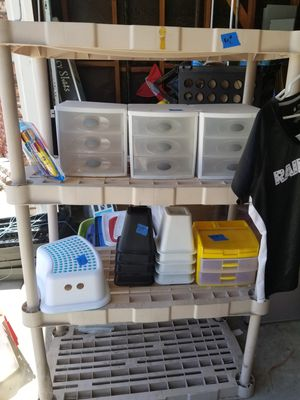 Plastic shelves, cosmetic drawers, organizers for Sale in Pittsburg, CA