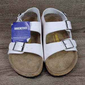 New birkenstock size 37 white strap sandals for Sale in Bonney Lake, WA