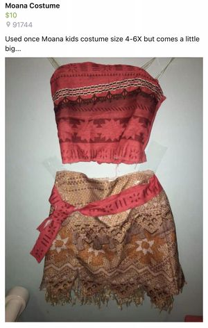 Moana Kids Costume 4-6x for Sale in City of Industry, CA