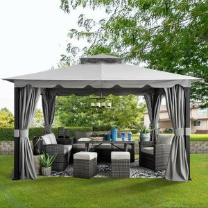 Athenea 11 ft. x 13 ft. Gray Steel Gazebo with 2-Tier Hip Roof and Mosquito Netting for Sale in Santa Ana, CA