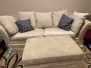 Make an offer: Large couch, oversized chair, and storage ottoman. COMPLETE SET for Sale in Fairfax, VA