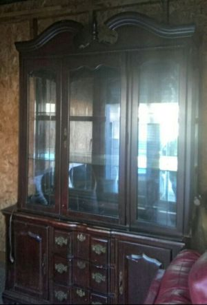 * China Cabinet with lights * Antique * Solid * Pick up today * for Sale in Atlanta, GA