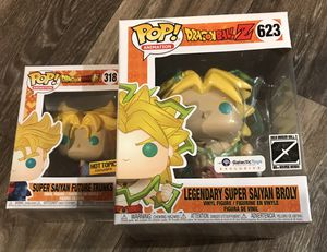 Super Saiyan Future Trunks and Galactic Toys Exclusive Legendary Super Saiyan Broly Funko POP! Dragonball Z combo pack! for Sale in Las Vegas, NV