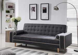 GRAY LINEN FUTON SOFA ADJUSTABLE BED / SILLON CAMA for Sale in Riverside, CA