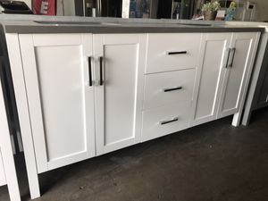 "72"" white bathroom vanity only for Sale in Plano, TX"