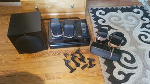 Yamaha Surround Sound Speakers with Sub Woofer and Onkyo Receiver for Sale in Arlington, VA