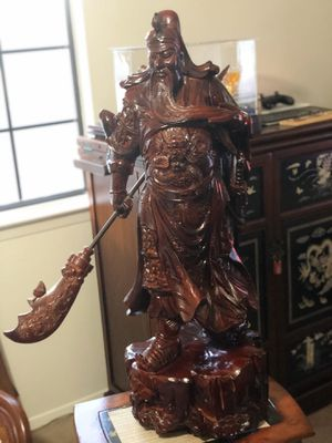 Chinese boxwood General Tzu Sun Statue almost 3 foot tall for Sale in La Mesa, CA
