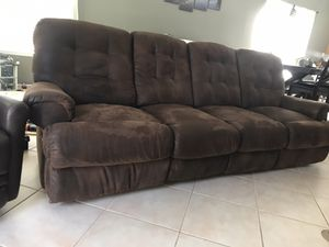Microsuede brown couch with 2 reclining seats for Sale in Oceanside, CA
