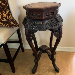 Antique Chinese Hand Carved Wood Pedestal Stand Table for Sale in Huntington Beach, CA
