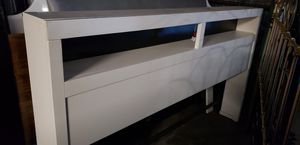 King size white bookcase headboard with lights for Sale in Denver, CO