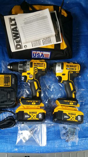 $335 DEWALT 20-Volt MAX XR Lithium-Ion Cordless Brushless Drill/Impact Combo Kit (2-Tool) with (2) Batteries 5.0Ah, Charger and Bag for Sale in Evergreen, CO