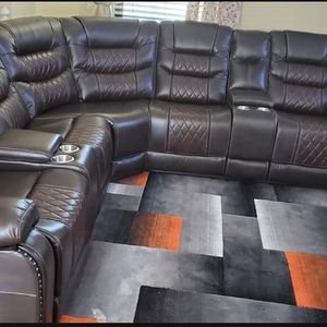 Brown And Burgundy Sectional -brand New In The Box- free Delivery for Sale in Atlanta, GA