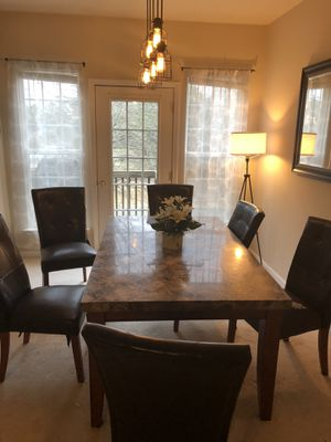 Marble like dining/kitchen table with 6 chairs for Sale in Raleigh, NC