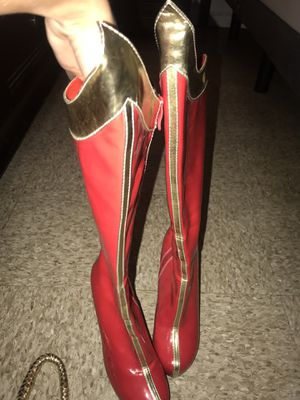 Red leather wonder women high heel boots for Sale in Miami, FL
