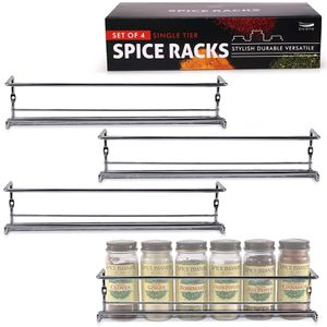 Gorgeous Spice Rack Organizer for Cabinets or Wall Mounts - Space Saving Set of 4 Hanging Racks - Perfect Seasoning Organizer For Your Kitchen Cabine for Sale in Los Angeles, CA