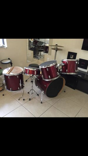 Red Drum Set with Extra Percussion Accessories for Sale in Miami Springs, FL
