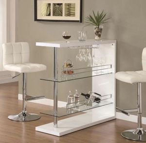 Rectangular Bar Unit with 2 Shelves and Wine Holder, available in 4 colors $339.00. Barstools are. It included. We offer FREE DELIVERY for Sale in Chino, CA