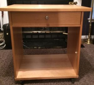 All Solid Honey Wood Crate and Barrel Book shelf Organize Collectibles Books or multiple Printer Stand Wooden Rollers rolls study desk for Sale in Perry Hall, MD