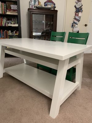 Land of the Nod (now Crate and Barrel Kids) little kid's white desk with two green chairs for Sale in Oceanside, CA