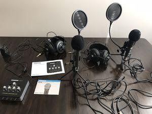 Samson Podcast Equipment 4 Channel Headphones/Two Mics/ Amplifier for Sale in Philadelphia, PA