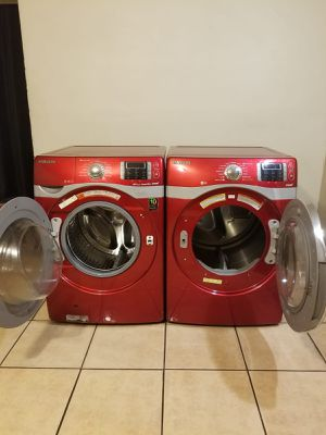 BEAUTIFUL RED WASHER AND ELECTRIC STEAM DRYER LARGE CAPACITY STACKABLE 90 DAYS WARRANTY for Sale in Glendale, AZ