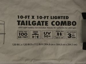 Ozark Trail 10' x 10' Lighted Tailgate Instant Canopy Combo for Sale in Lake Elsinore, CA
